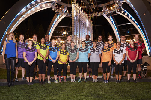 STRONG -- Season 1 -- Pictured: (l-r) Back Row: Mathew Miller, Dan Wells, Bennie Wylie, Ky Evans, Todd Durkin, Leyon Azubuike, Wesley Okerson, Chris Ryan, Adam Von Rothfelder, Drew Logan Front Row: Gabrielle Reece, Nicole Bentley, Mahogany Roberts, Jill May, Brittany Harrel, Devon Cassidy, Victoria Castillo, Jasmine Loveless, Giovanna Cicerchia, CC Collazo, Sarah Miller -- (Photo by: Chris Haston/NBC)